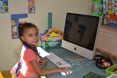 Newark Safety Fair - A girl on a computer